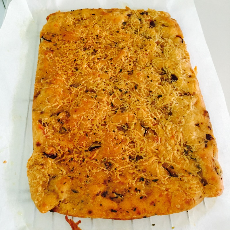 Sundried Tomato Olive Focaccia and salad