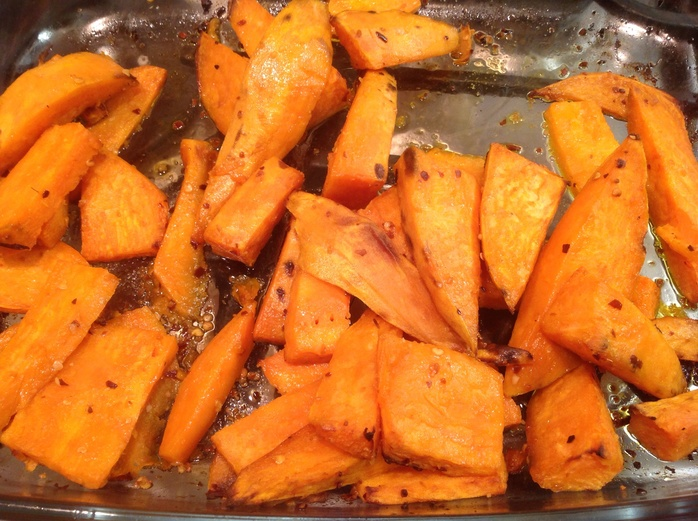 Sweet potato wedges, chilli-roasted wedges