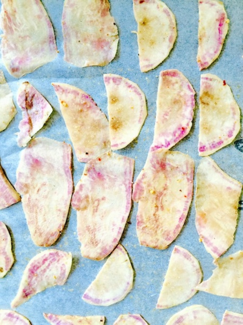Sweet Potato Chips laid flat