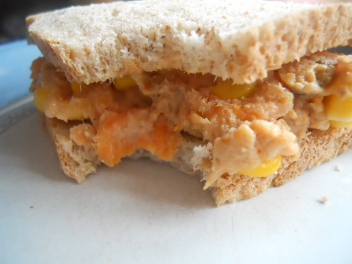 sweet potato, tuna & sweetcorn, cream cheese, sandwich