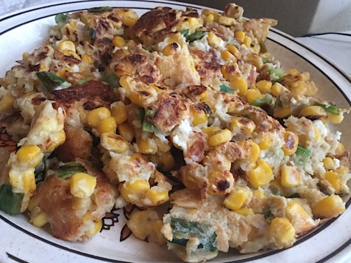 Sweetcorn, feta, fritters, breakfast