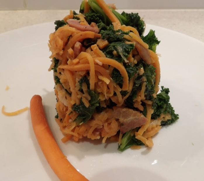 sweet,potato,noodles,with,kale,and,bacon