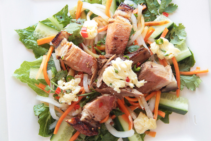 Tasty Vietnamese pork salad