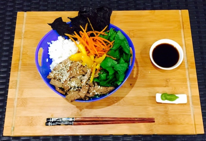 Teriyaki Beef Sushi Bowl With Nori Chips Wasabi And Soy Sauce