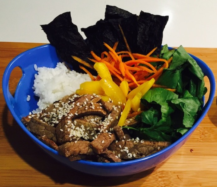 Teriyaki Beef Sushi Bowl With Wasabi Nori Chips