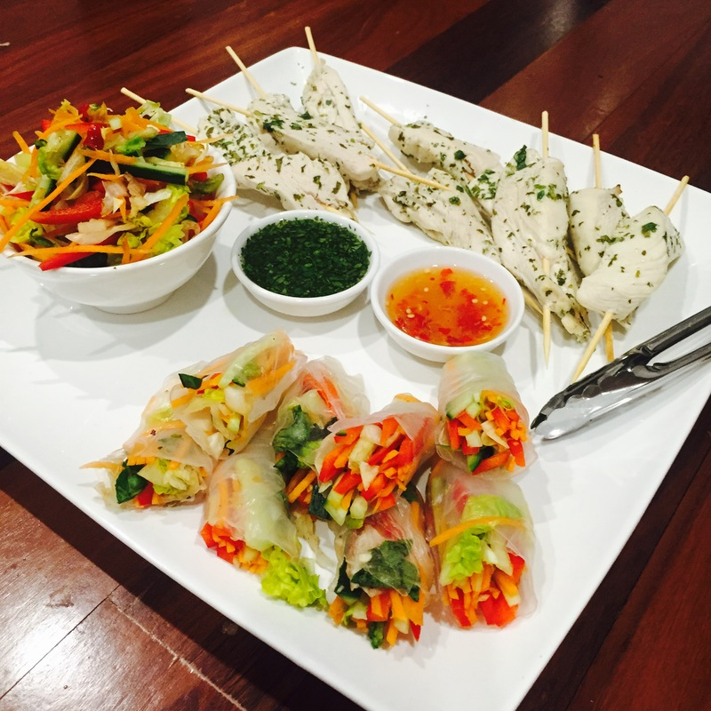 Thai chicken kebabs and vegetable roll platter  - Thai Chicken Kebabs and Vegetable Rolls with Zesty Sauces