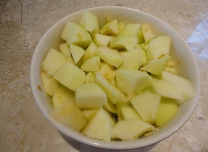 The chopped apples