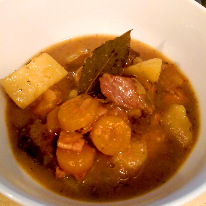 The completed stew.  - Apple Cider & Beef Summer Stew