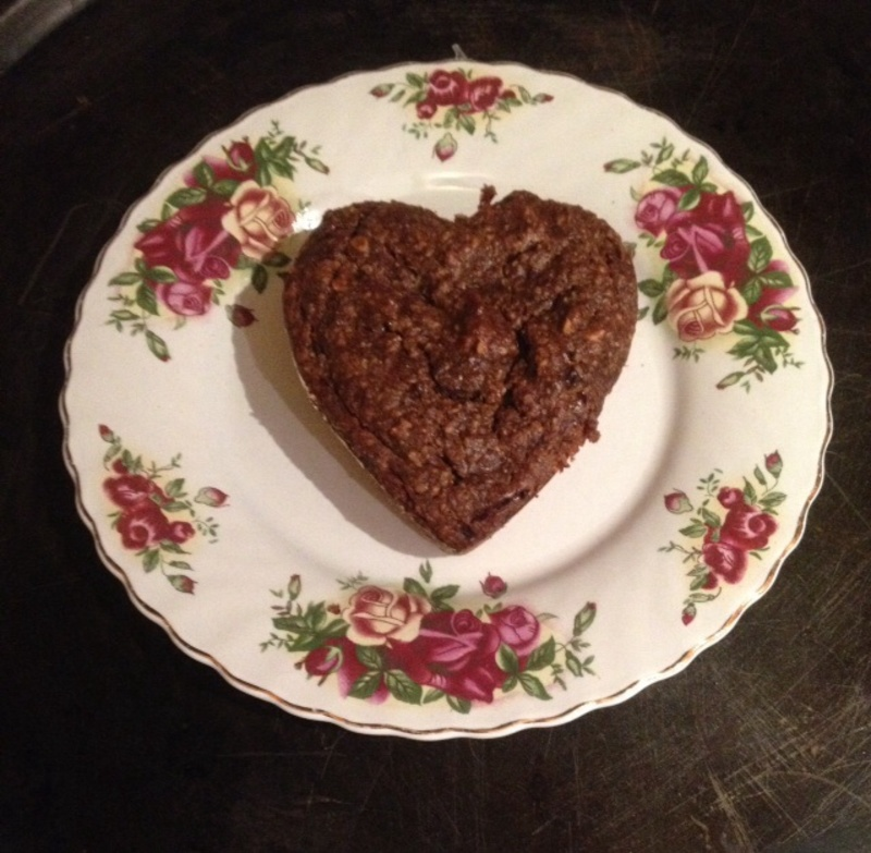 The finished brownie   - Heart Brownies