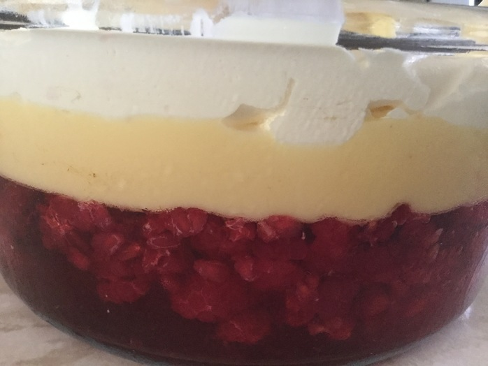 Trifle, raspberry, cream, custard, almonds, dessert, pudding, jelly