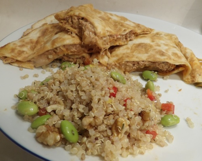 tuna quesadillas with quinoa and soy bean salad