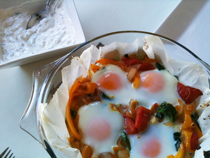 Turkish style baked eggs, greek yoghurt garlic dip