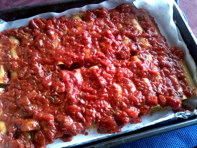 Unbaked cannelloni