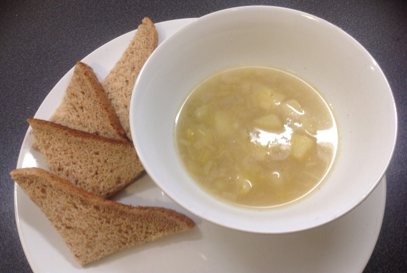 Vegetable soup, bowl, soup, bread