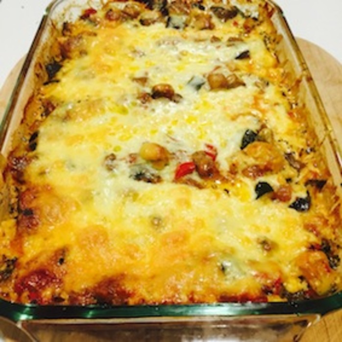 Vegetable lasagne hot out of the oven