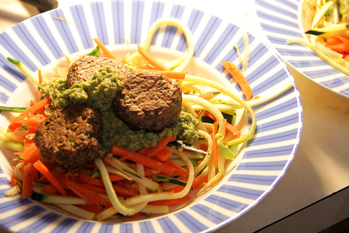 Lentil and quinoa flake meatballs, healthy pasta dish