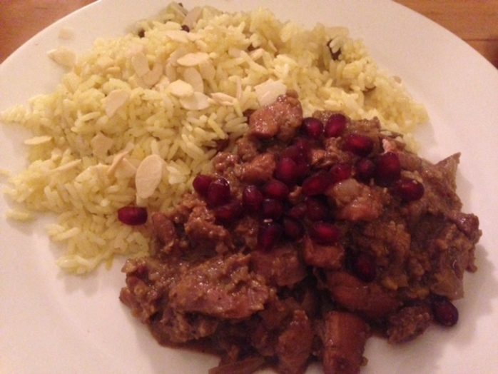 Walnut and pomegranate Persian chicken stew