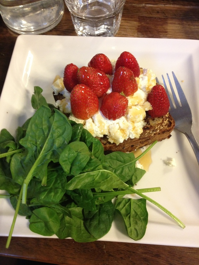 Walnut sourdough w strawberries, ricotta, spinach and honey