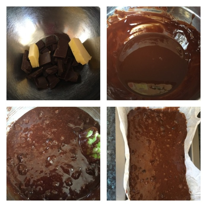 4 steps of making the brownie