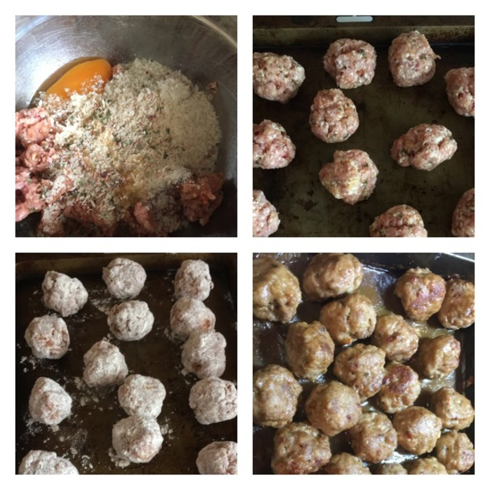 4 steps of the meatballs cooking