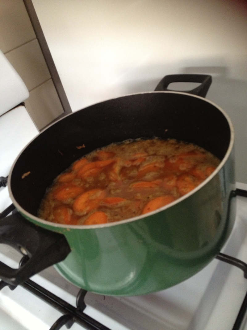 Saute the onion, apple, garlic, chilli, curry and parsley  - Curried Sausages