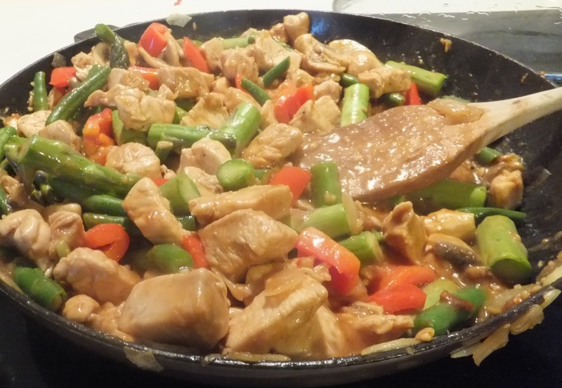 adding the beans to chicken mixture  - Chicken and Vegetables with Coconut Lime Peanut Sauce