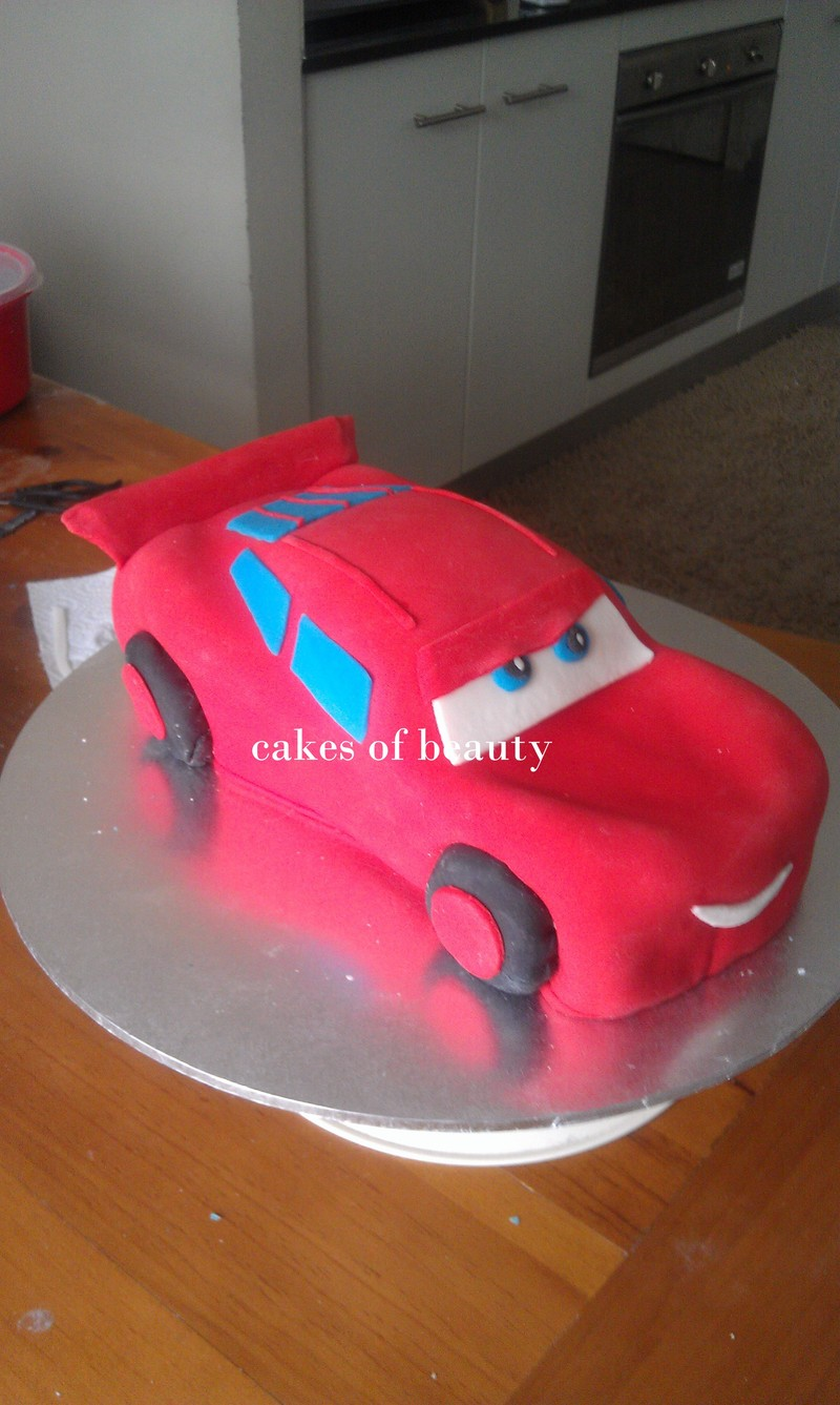 Almost done  - Lightning McQueen Car Cake