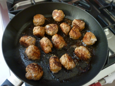 Brown the meatballs then quickly hide the evidence with the soup