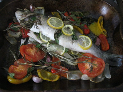 Cooked Fish, Sea Bass, Roasted Vegetables
