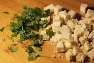 Feta, oregano, chopped