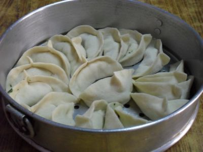 Momos ready for steaming