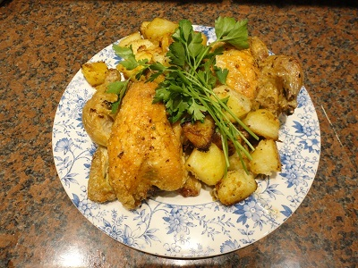 Roast Poussins and Roast Potatoes