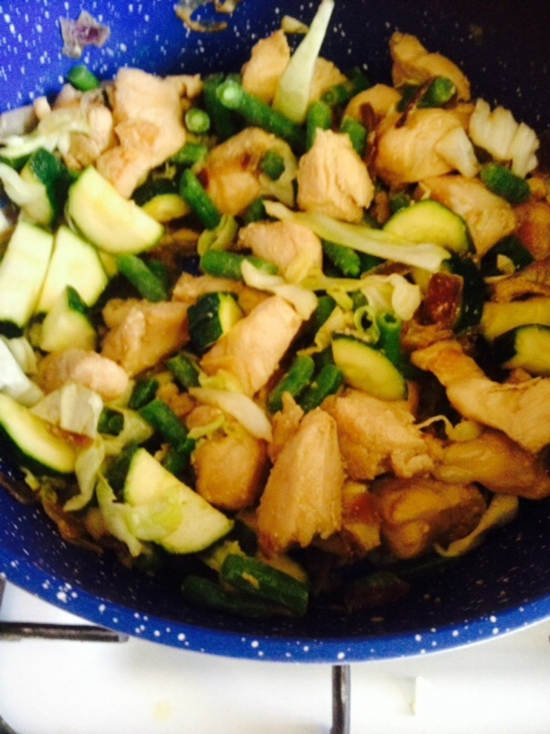 Adding in the vegetables   - Honey, Soy, Garlic Stir Fry with Chicken
