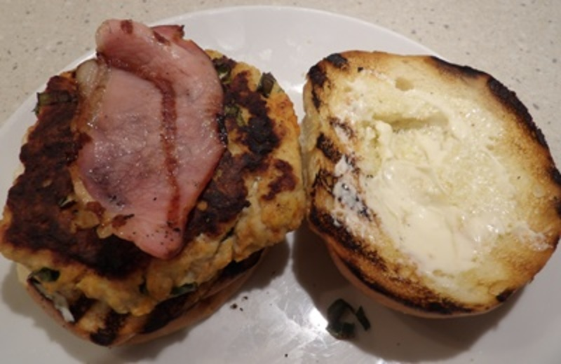 making,chicken,patties  - Barbecued Tropical Chicken Burger