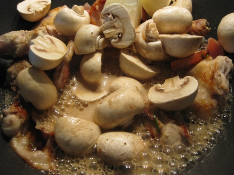 cooking,bacon,and,rabbit  - Rabbit Cooked In Dark Beer With Home Made Dumplings