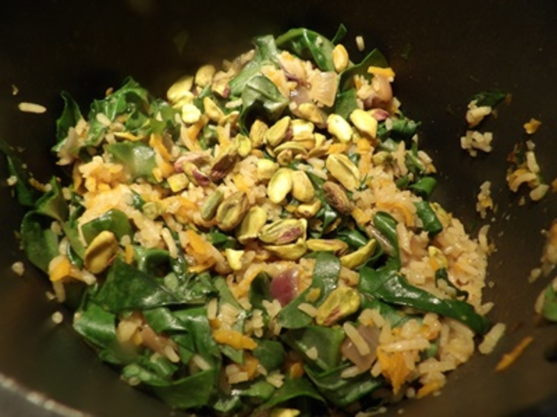 Adding,ingredients,for,rice  - Pistachio Vegetable Rice