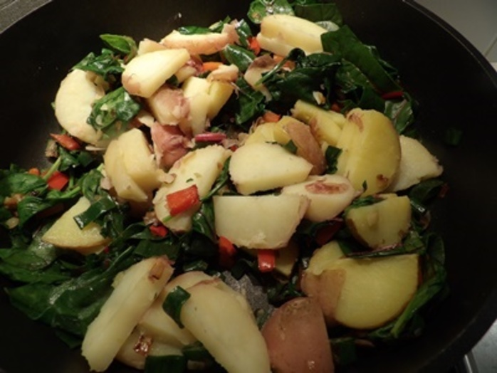 adding,potatoes,to,vegetables,for,frittata