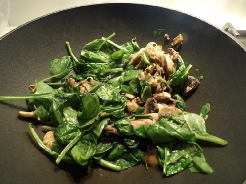 adding,spinach,to,vegetables  - Baked Spinach and Mushroom Frittata