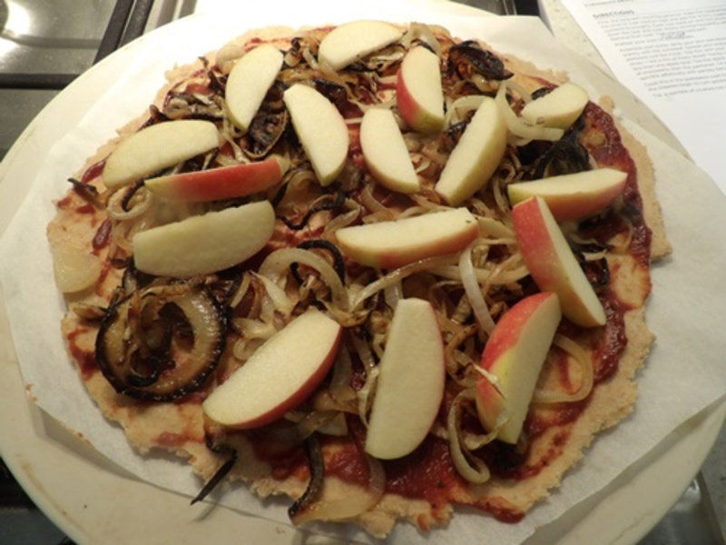 home,made,wholemeal,pizza,dough  - Wholemeal Pizza Dough with Brie, Apple and Caramelized Onion