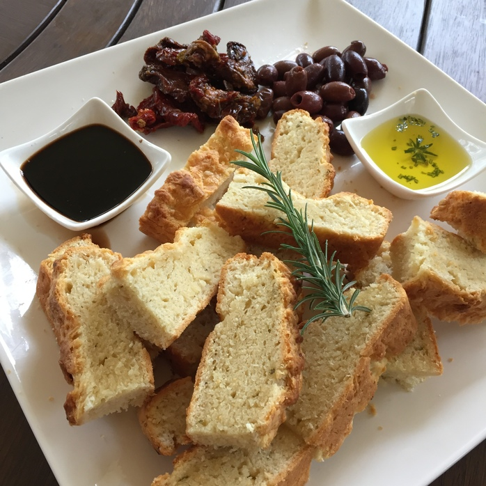 Antipasto platter with garlic and cheese focaccia (yeast free)