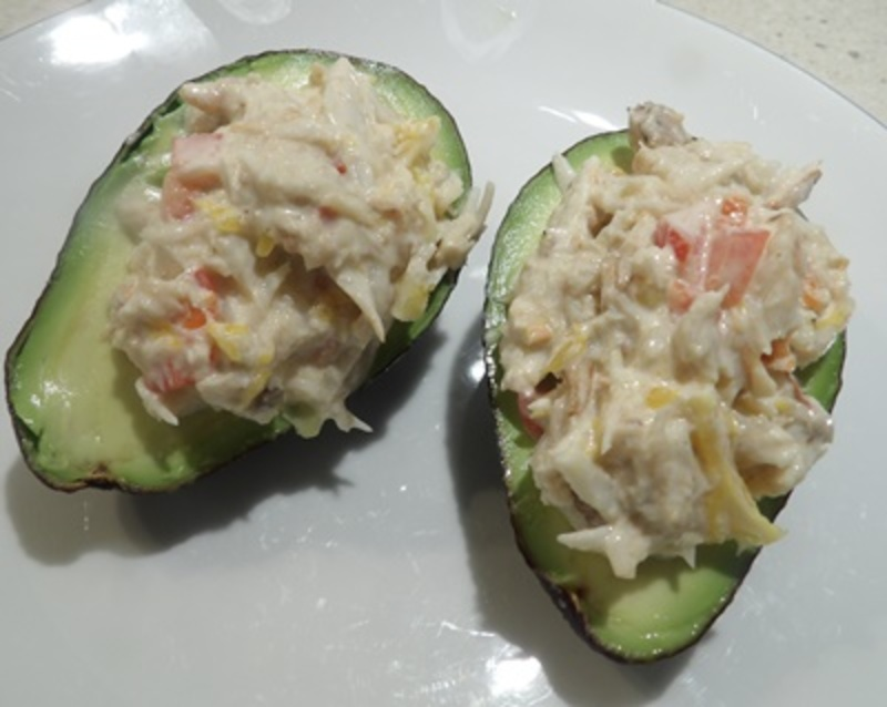 avocado,stuffed,with,seafood  - Seafood Filled Avocados