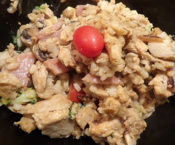 bacon,chicken,with,broccoli,capsicum,and,mushrooms