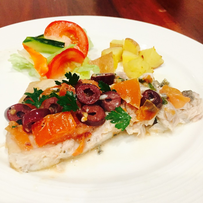 Baked Bream With Olives And Tomato And Potatoes