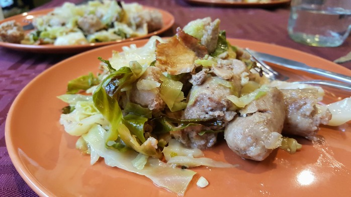 Baked sausages and cabbage