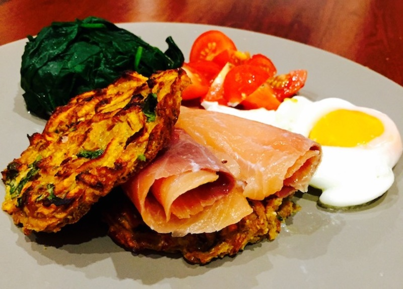 Baked Sweet Potato Rosti With Smoked Salmon Poached Egg And Spinach  - Cafe Style Sweet Potato Rosti With Smoked Salmon, Poached Egg, Spinach And Tomato