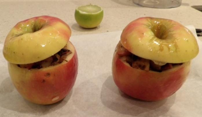 plated,apples,filled,with,potato,bacon,and,apple