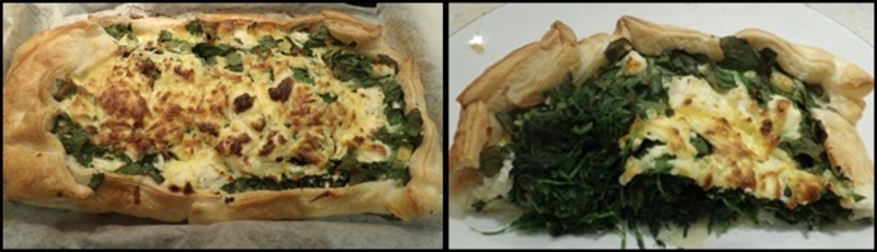 spreading,filling,onto,pie,base  - Open Greek Pie With Mascarpone Filled Capsicums