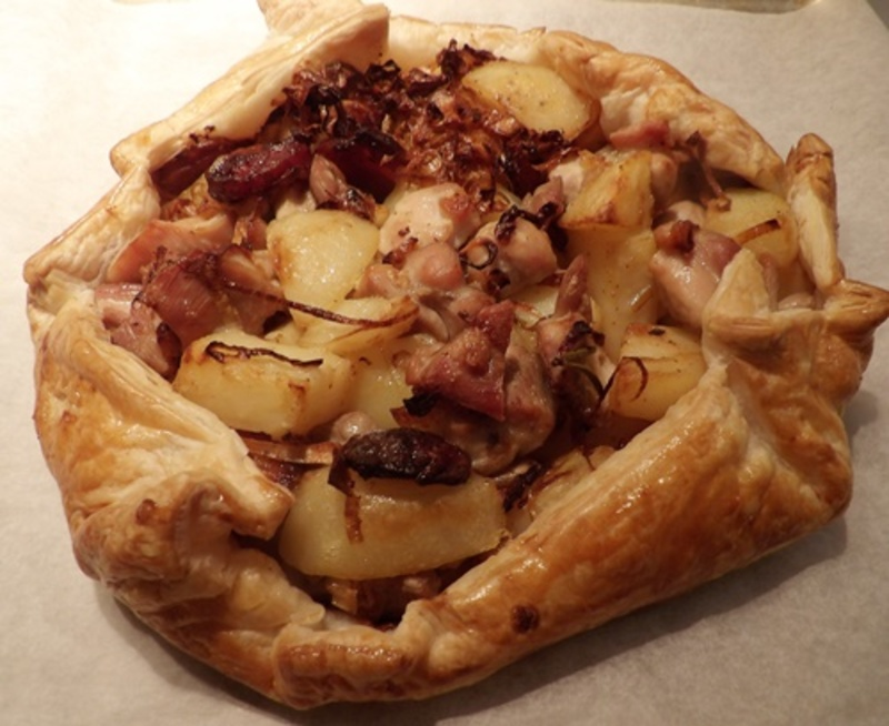 bringing,pastry,up,sides,of,chicken,mixture,for,open,pie  - Chicken, Chorizo Open Pie with a Savoury Pumpkin Cheese Cake