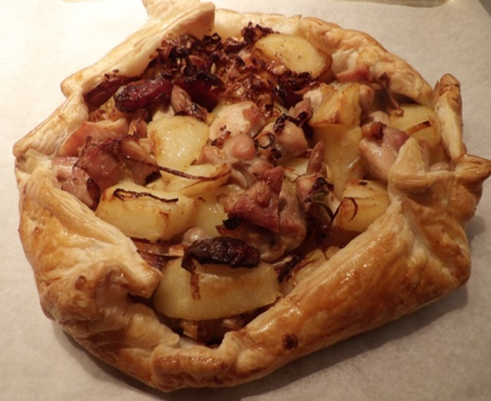 bringing,pastry,up,sides,of,chicken,mixture,for,open,pie