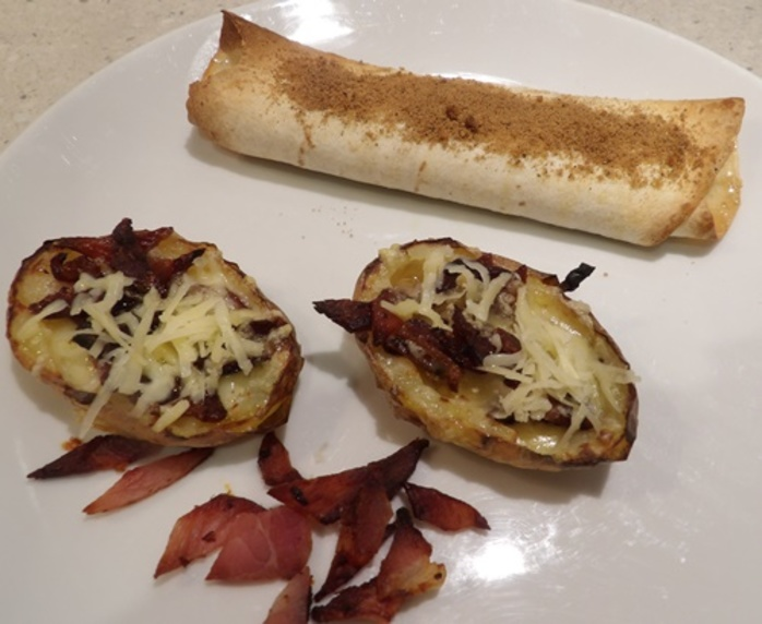 Baked,potato,skin,and,tortilla,with,cheese,and,raisin,filling